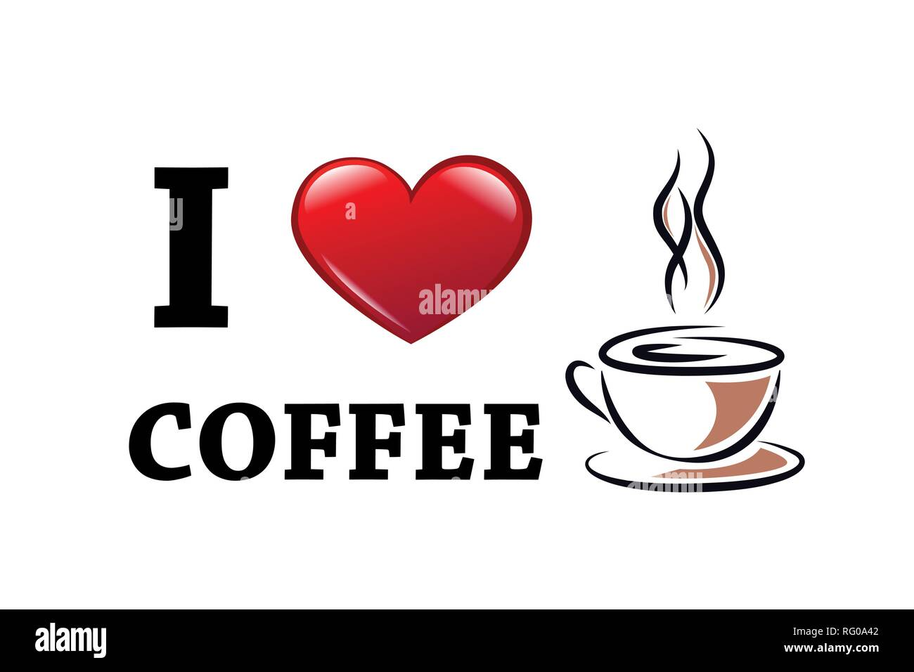 I love coffee typography with red heart and coffee cup vector illustration EPS10 - Stock Vector