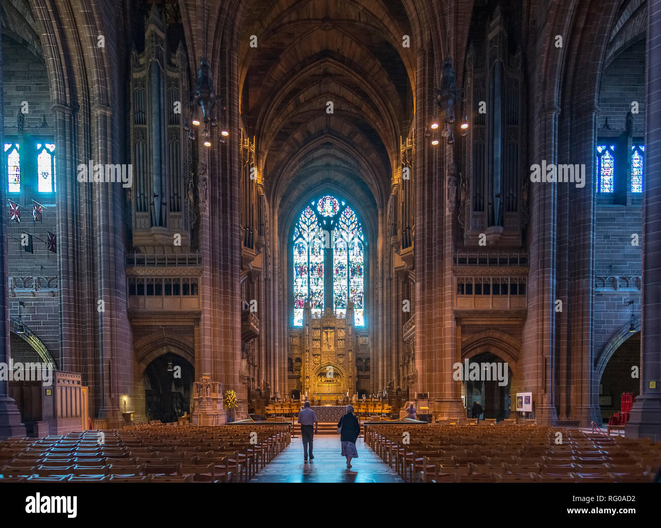 The interior of the Anglican cathedral Liverpool. Merseyside North West England. - Stock Image