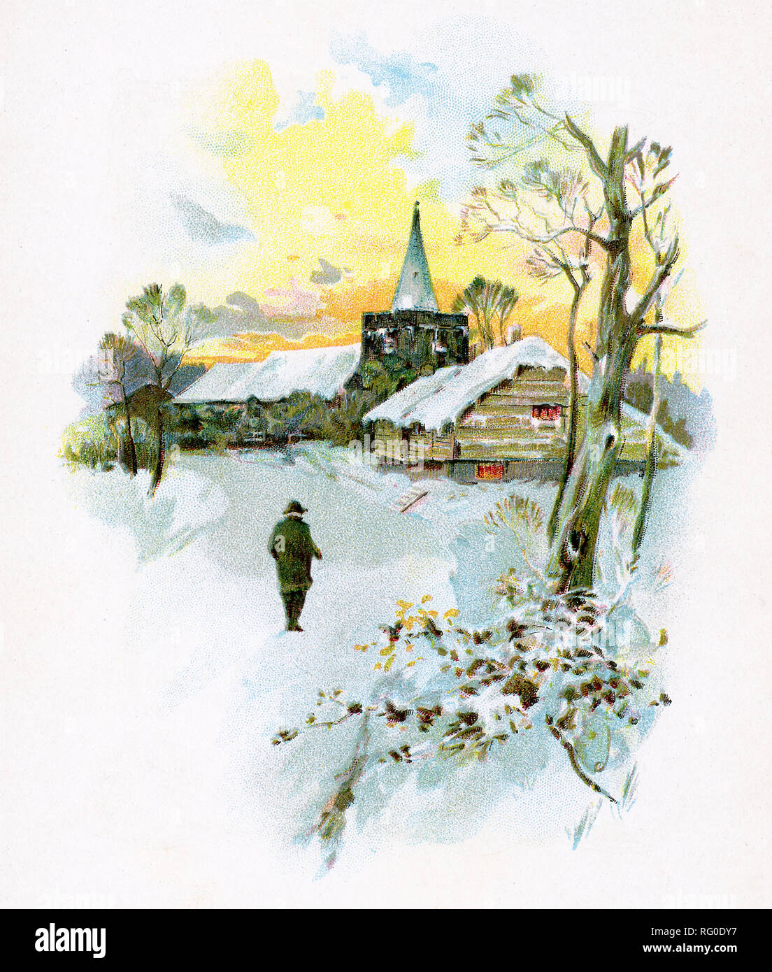 This winter scene accompanied text by Episcopalian minister Phillips Brooks in his book titled Brilliants. - Stock Image