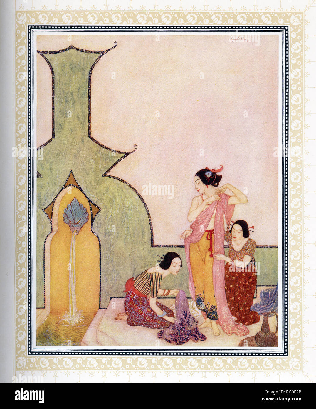 This illustration is taken from the book 'Sinbad the Sailor' that was published around 1914.  It shows Lady Bedr-el-Budr at her bath. The illustrator was Edmund Dulac and the story is from the Arabian Nights. Aladdin fell in love with Lady Bedr-el-Buhr when he saw her. Here the Lady is shown at her bath. - Stock Image