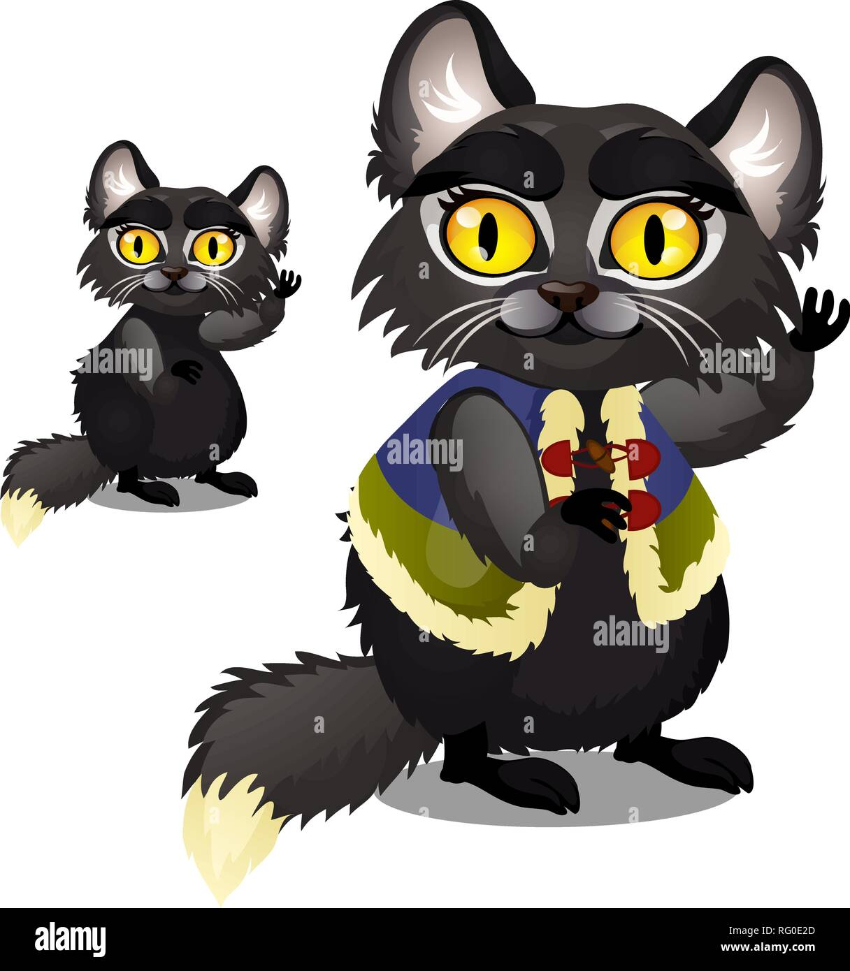 Sly animated black furry cat with yellow eyes in a vest isolated on white background. Vector cartoon close-up illustration. - Stock Vector