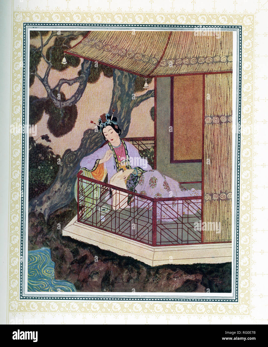 This illustration is taken from the book 'Sinbad the Sailor' that was published around 1914.  It shows Lady Bedr-el-Budr. The illustrator was Edmund Dulac and the story is from the Arabian Nights. Aladdin fell in love with Lady Bedr-el-Buhr when he saw her. - Stock Image