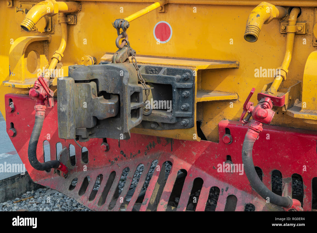 Close up type connection joint or knuckle front of train. - Stock Image