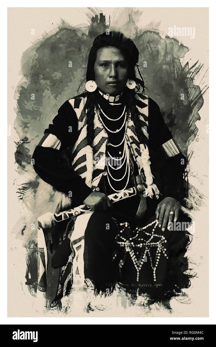 Native American Indian Portrait Profile Series - No 2.jpg - RG0M4C 1RG0M4C - Stock Image