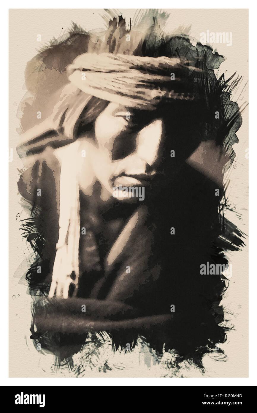 Native American Indian Portrait Profile Series - No 3.jpg - RG0M4D 1RG0M4D - Stock Image