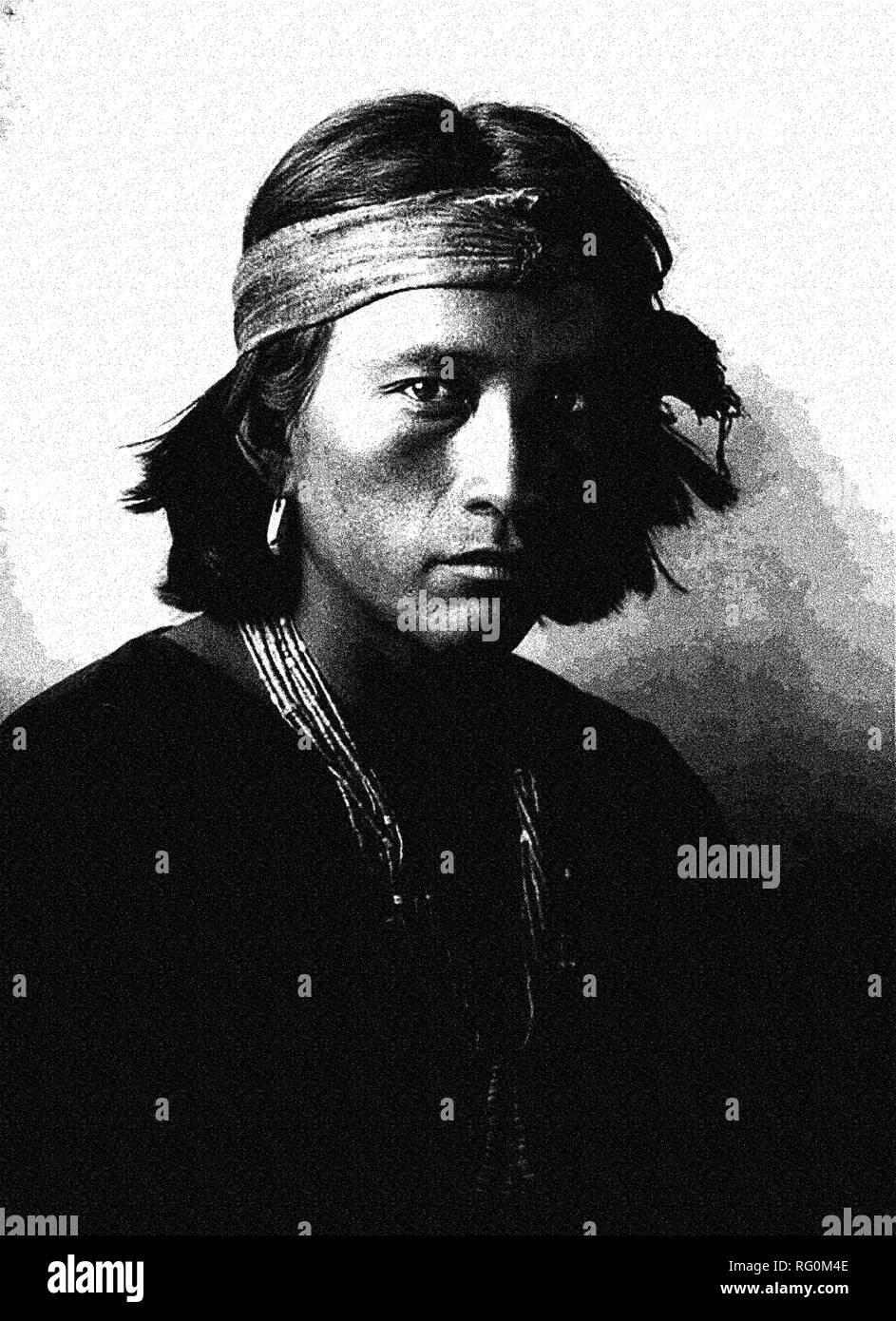 Native American Indian Portrait Profile Series -Navajo youth Poster.jpg - RG0M4E  - Stock Image