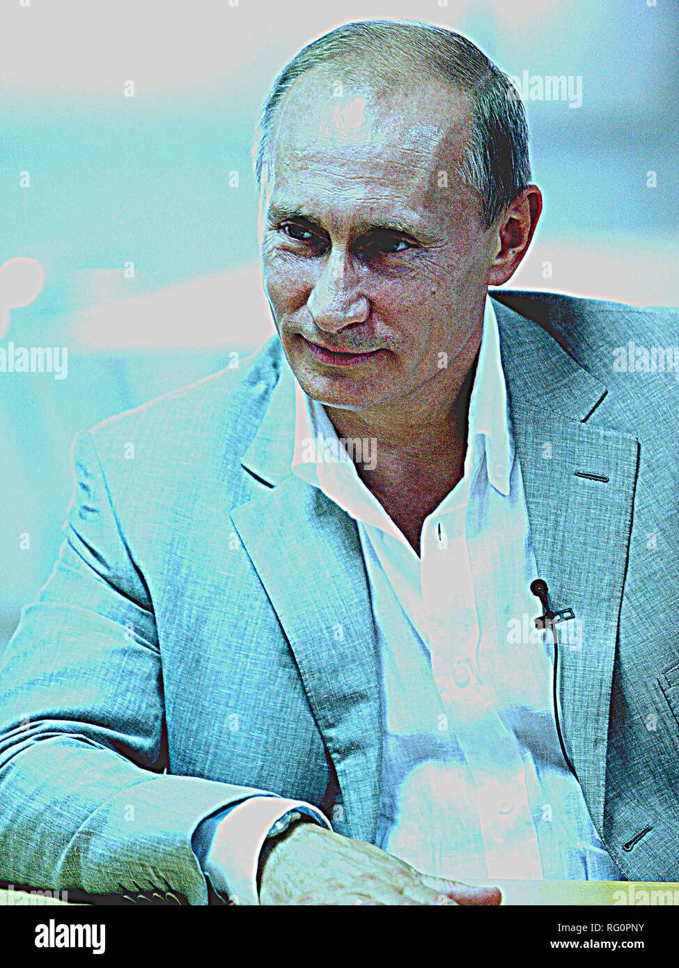 Poster of Russian President Vladimir Putin.jpg - RG0PPG - Stock Image