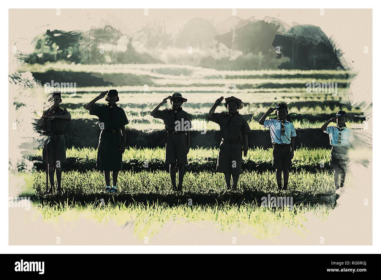 Scout boys of Tropics.jpg - RG0RGJ 1RG0RGJ - Stock Image
