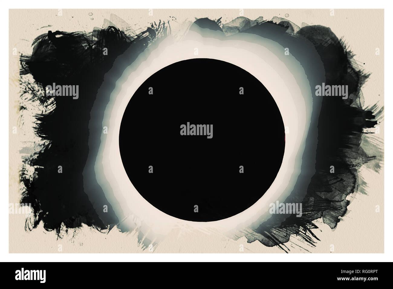 Solar eclipse 2017 Watercolor.jpg - RG0RPT 1RG0RPT - Stock Image