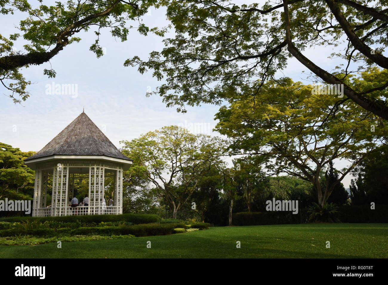 White pavilion at the UNESCO World Heritage's garden in a calm afternoon where a small and memorable wedding is just held - Stock Image