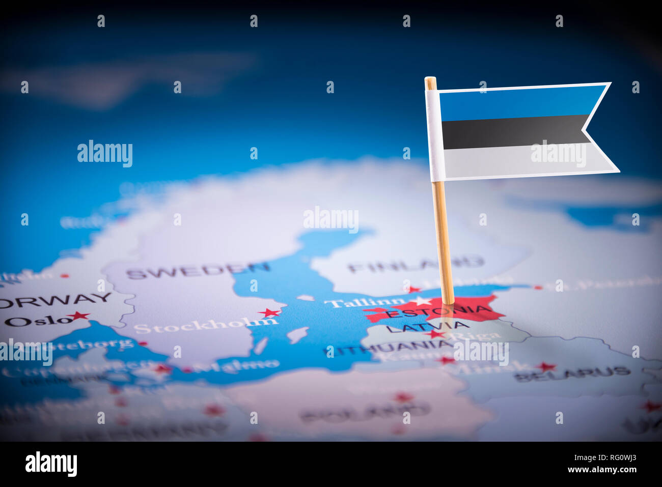 Picture of: Estonia Marked With A Flag On The Map Stock Photo Alamy