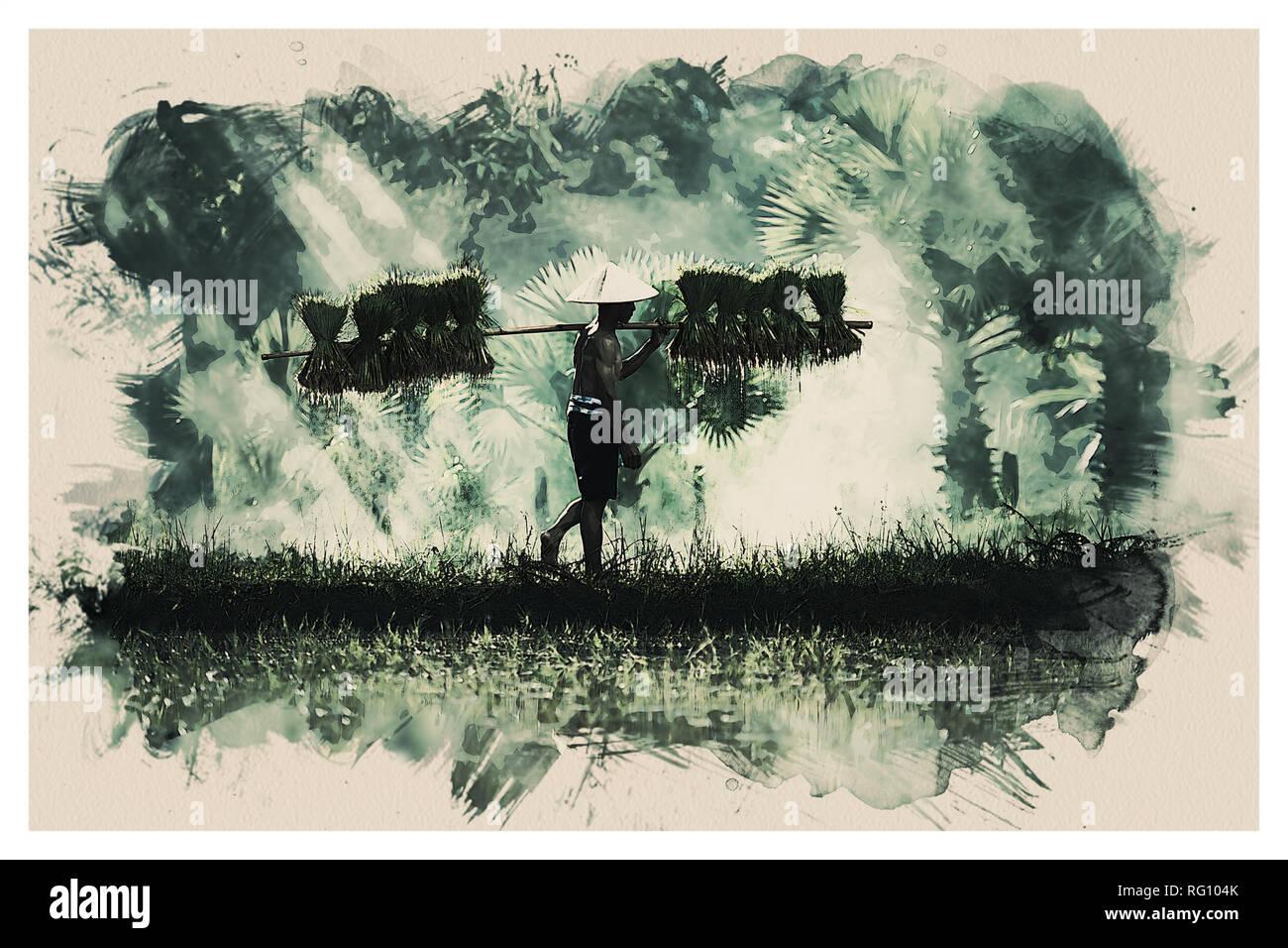 Wildlife Series - Sumatra Rce Farmer.jpg - RG104K 1RG104K - Stock Image