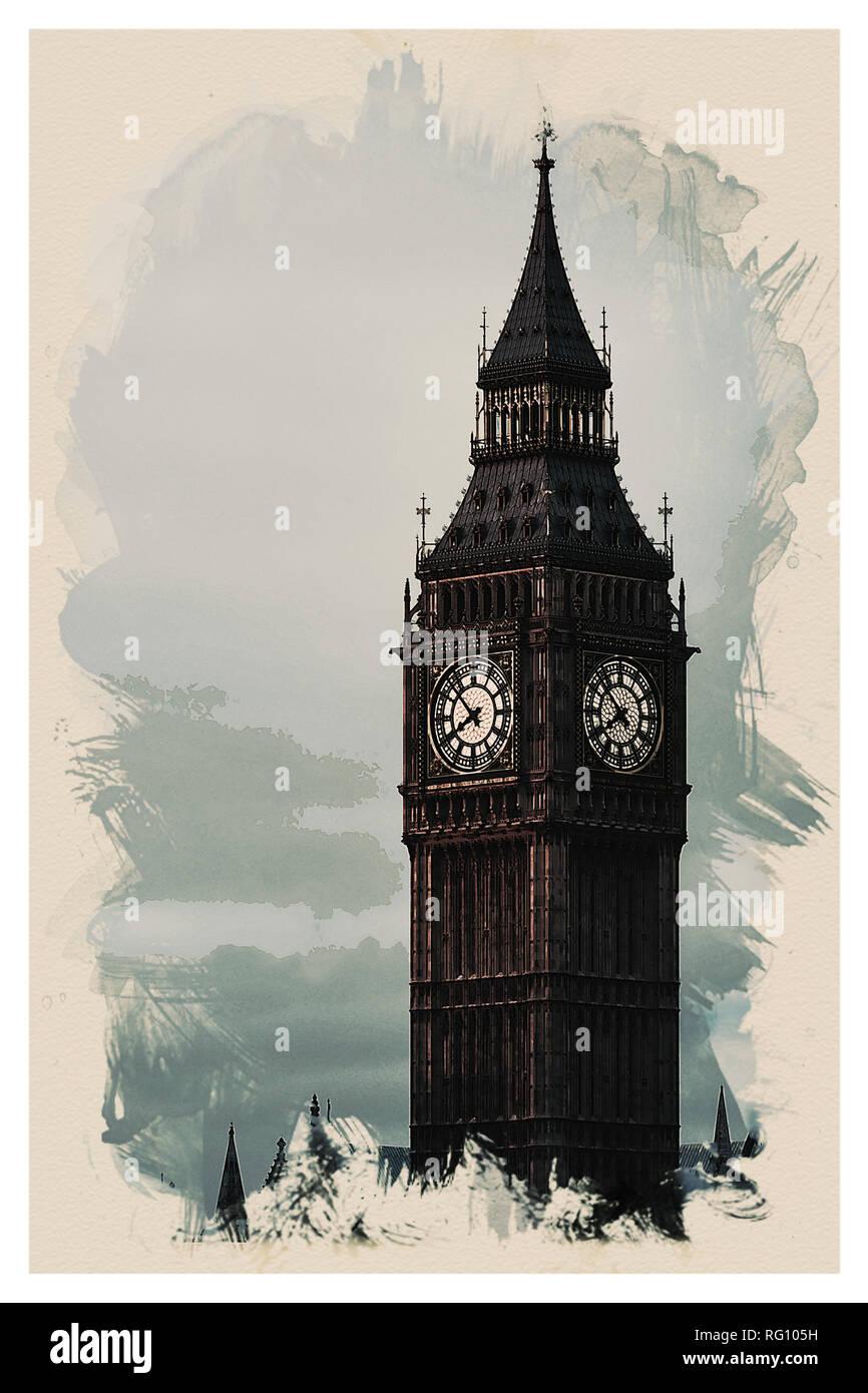 Wonders of the Worlds - Big Ben Tower of London.jpg - RG105H 1RG105H - Stock Image