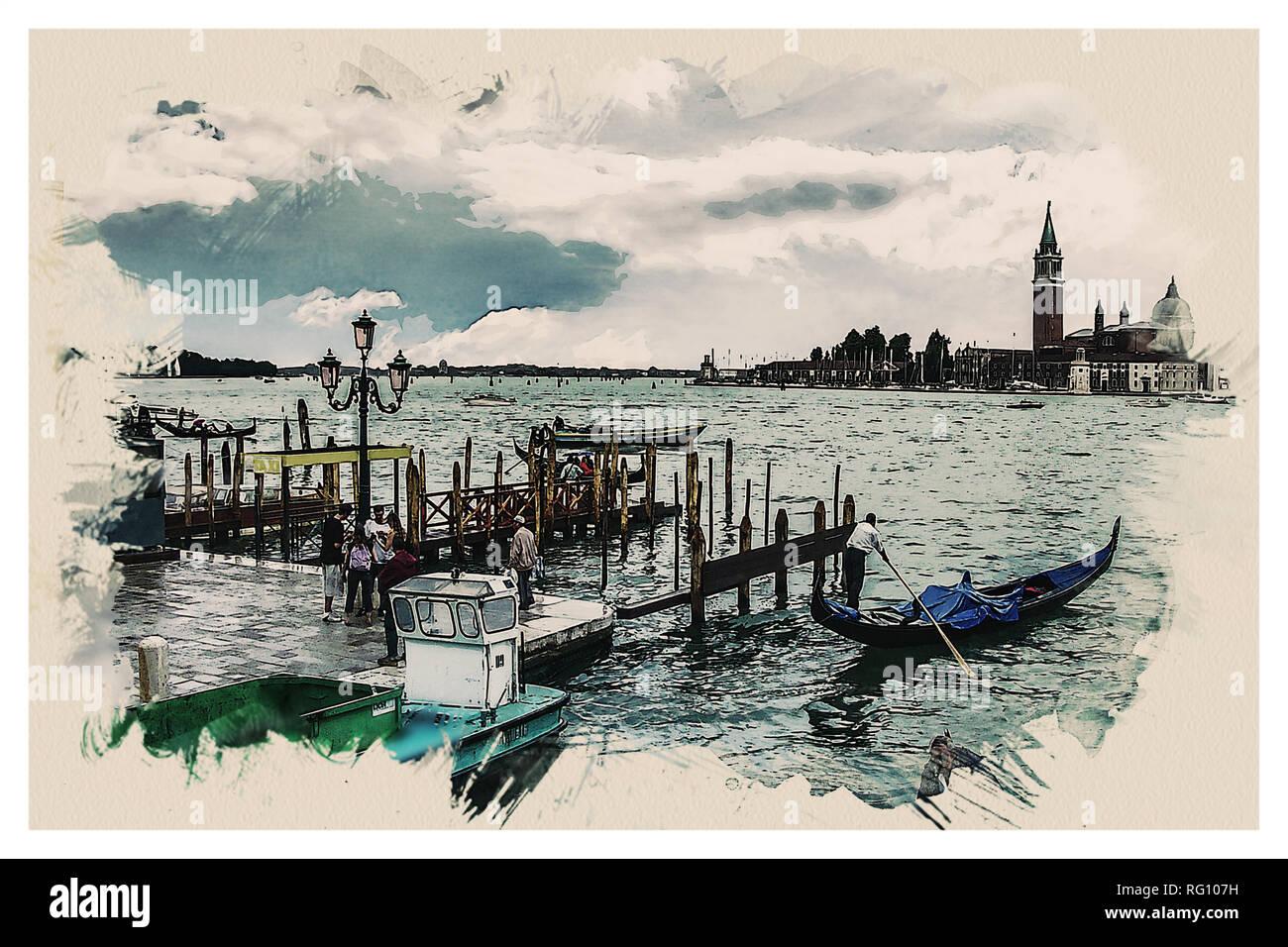 Wonders of the Worlds - Venice Gondola Water Venezia Europe.jpg - RG107H 1RG107H - Stock Image