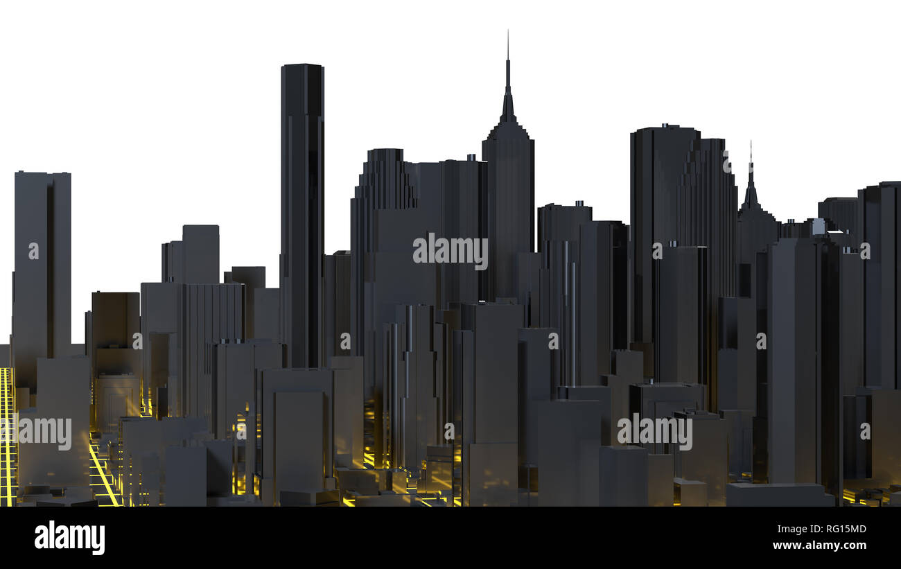 Low poly city views from above  3d rendering Stock Photo: 233595725