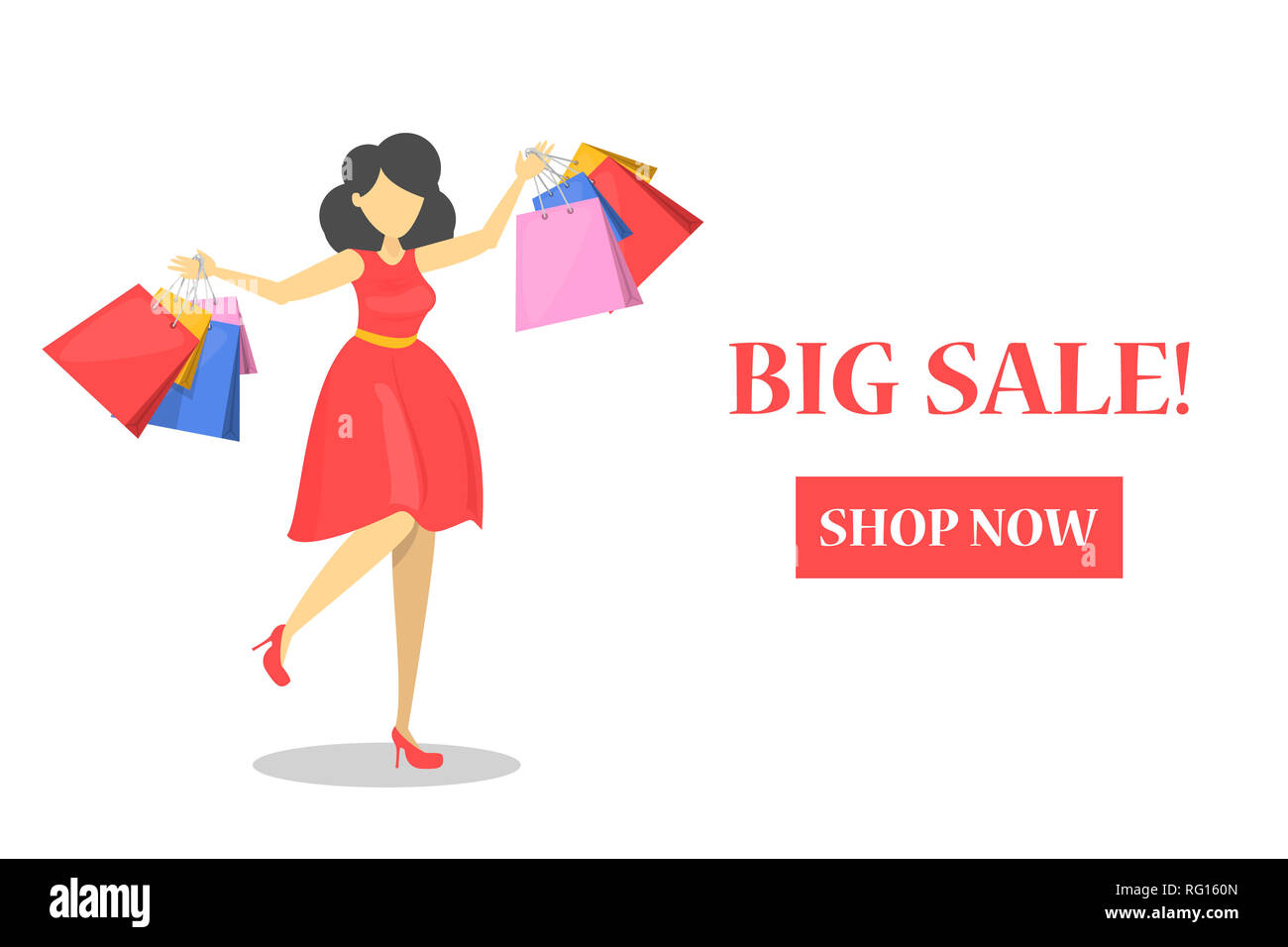 Happy Beautiful Woman In Red Dress With Shopping Bags Web Banner For Online Store Big Sale Poster Black Friday E Commerce And Big Discount Stock Photo Alamy