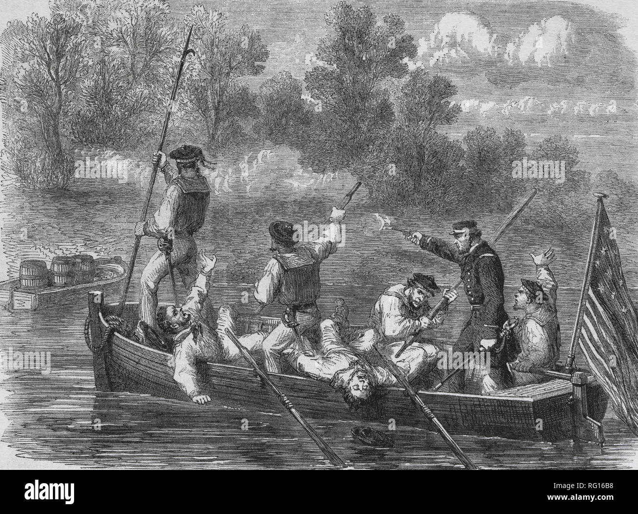 American Civil War (1861-85). A trap set by Confederates. Captain of Union Army and crew on small boat. Engraving by Fr. Vizetelly. - Stock Image