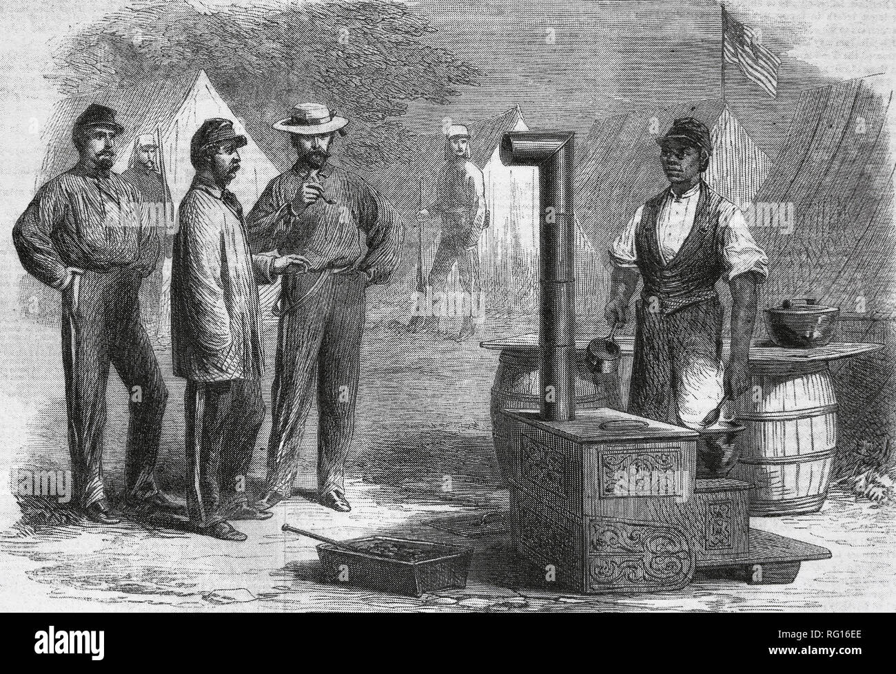 American Civil War. Union Army. The camp kitchen of the 2nd New York Regiment. Engraving by Frank Vizetelly (1830-1883). - Stock Image