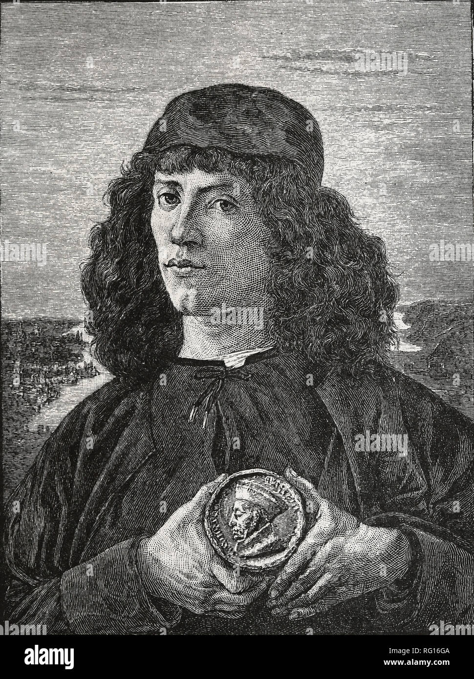 Portrait of a Man with a medal of Cosimo the Elder, 16 th century. Painting by Sandro Botticelli. Copy of an engraving. - Stock Image