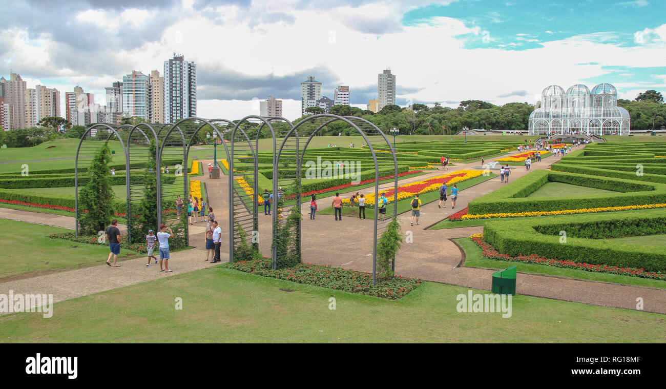 Botanical garden of Curitiba, Brazil, with the famous greenhouse - Stock Image