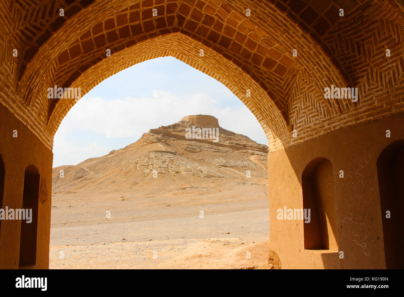 Zoroastrian Tower of Silence and wind towers in Yazd, Iran - Stock Image