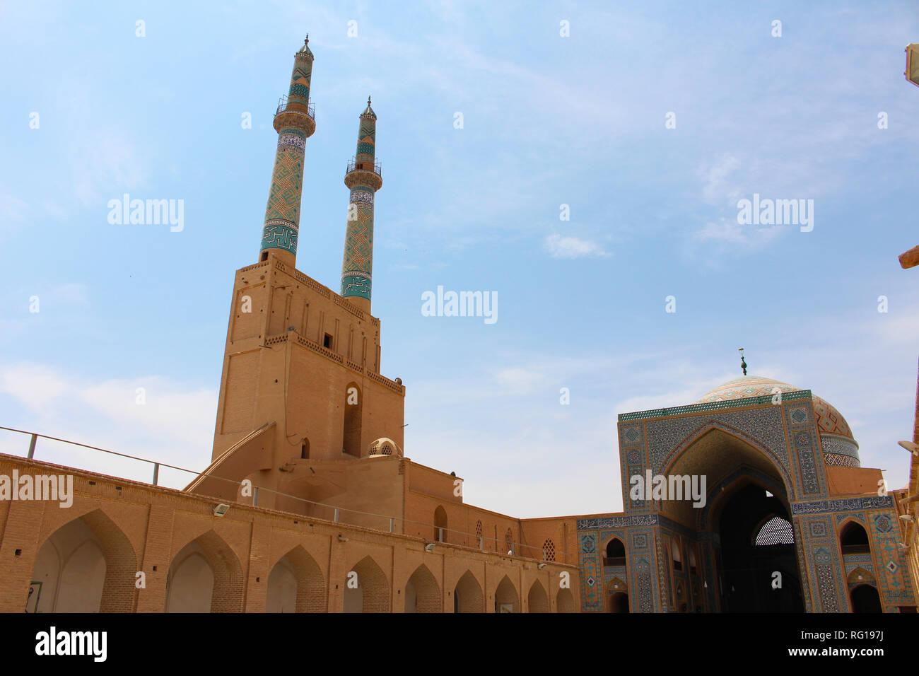 Amir Chakhmaq Complex in Yazd, Iran. Amir Chakhmaq Complex is a Mosque in Yazd, Iran. It also contains a caravanserai, a tekyeh, a bathhouse, and a co - Stock Image