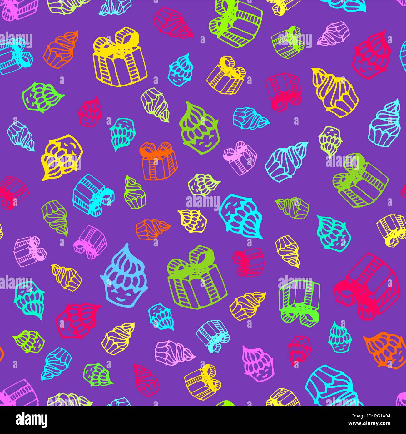 Birthday seamless pattern in hand-drawn doodle style. Stock Vector