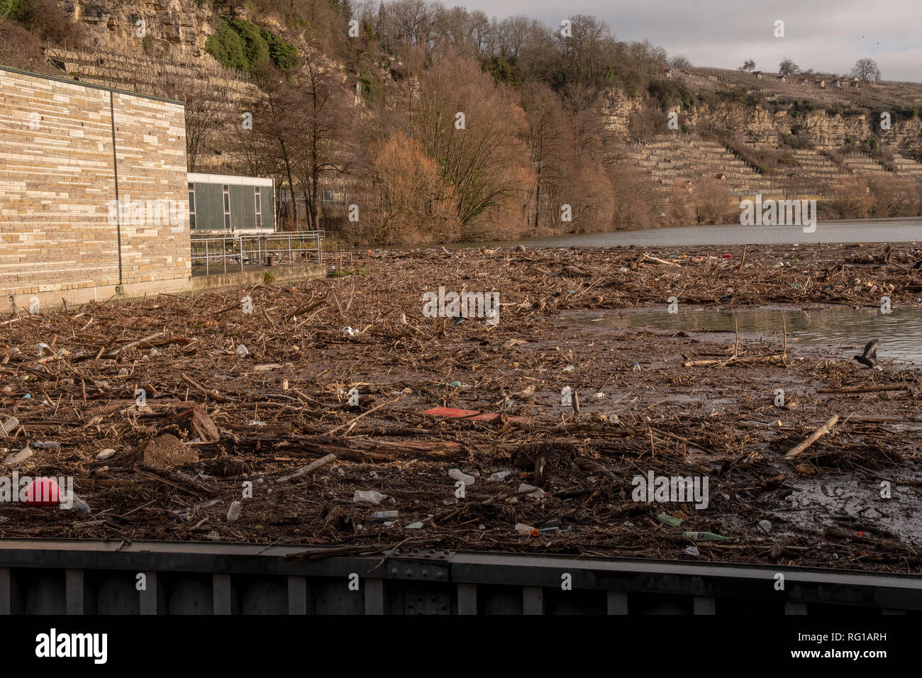 Environmental pollution at a lock on the Neckar river a lot of wood and plastic waste is washed ashore - Stock Image