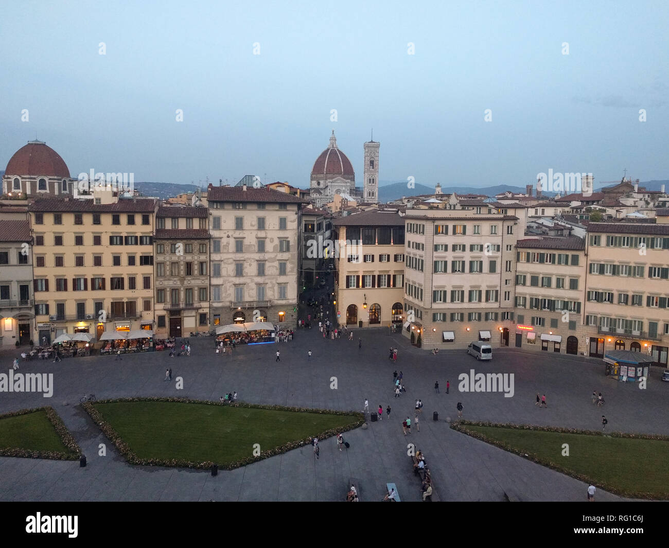 Italy, Florence - July 21 2017: arial view of piazza di Santa Maria Novella in Florence on July 21 2017, Tuscany, Italy. - Stock Image