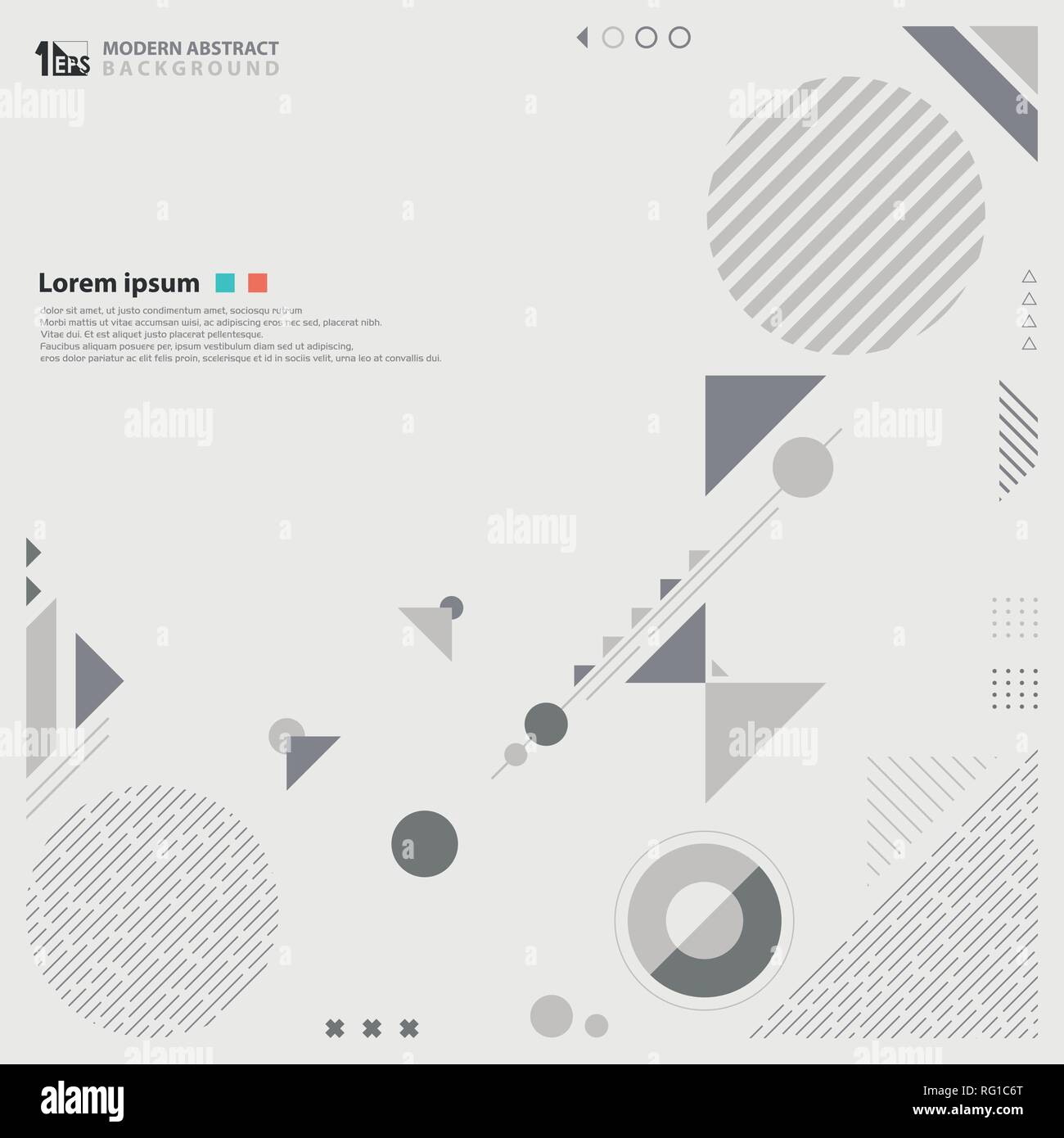Abstract modern design gray color tone of geometric composition background. Pattern design of circle and triangles shape using for advertise work, cov - Stock Image