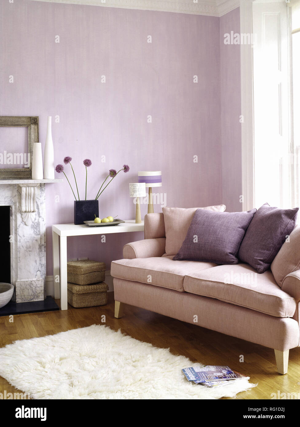 Remarkable Mauve Cushions On Pale Pink Sofa In Mauve Living Room Stock Interior Design Ideas Gentotthenellocom