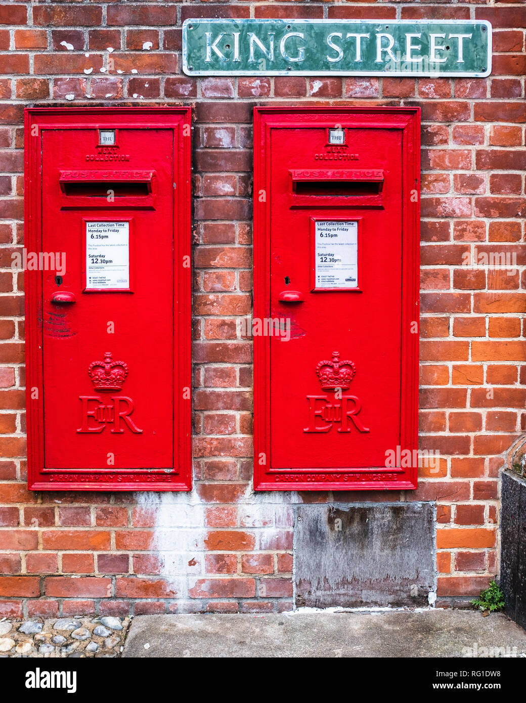 Royal Mail Postboxes - two Royal Mail set into a wall in King Street Thetford UK - Stock Image