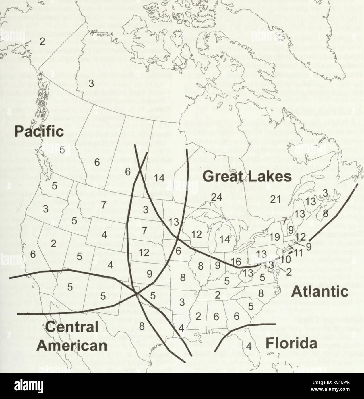 . The Canadian field-naturalist. Natural history; Sciences naturelles. 2005 Gomez-Zurita: New Records and Biogeography of Callicrapha 97. Atlantic itral American A Florida Figure 2. Calligrapha species numbers in North American provinces and states. Thick lines roughly demarcate faunistic groups in the genus according to their geographic distribution. Calligrapha stands out among leaf beetles because it includes several parthenogenetic species, otherwise very unusual among the Chrysomelidae (Brown 1945; Robertson 1966; Cox 1996; Gomez-Zurita et al. 2004). It is noteworthy that all asexual spec - Stock Image