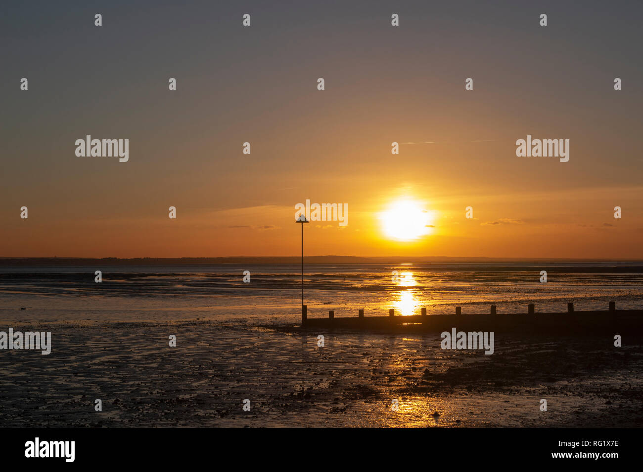 Sunset at  Southend-on-Sea, Essex, England - Stock Image