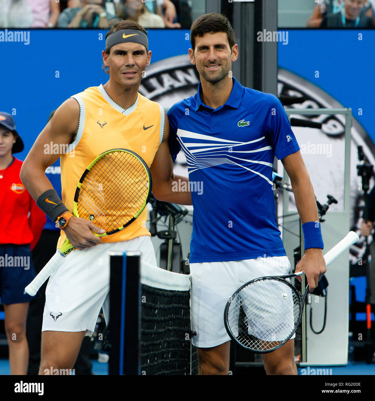 Melbourne, Australia. 27th Jan, 2019. Tennis: Grand Slam, Australia Open. Rafael Nadal (l) from Spain and Novak Djokovic from Serbia will be together in the cameras before the final. Credit: Frank Molter/dpa/Alamy Live News - Stock Image