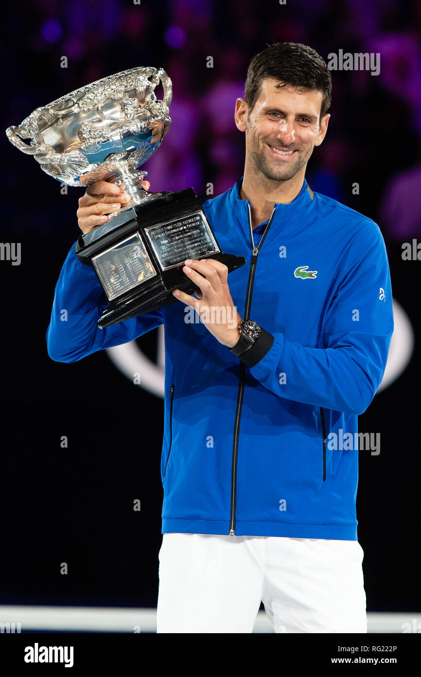 Melbourne, Australia. 27th Jan, 2019. Novak Djokovic from Serbia won his 7th Australian Open title at the 2019 Grand Slam tennis tournament in Melbourne, Australia. Frank Molter/Alamy Live news - Stock Image