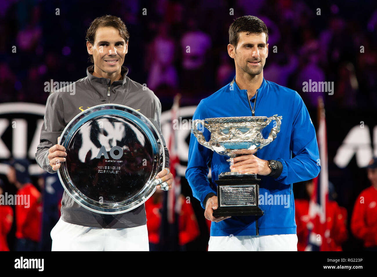 Melbourne, Australia. 27th Jan, 2019. Novak Djokovic from Serbia won his 7th Australian Open title in the final against Rafael Nadal from Spain at the 2019 Grand Slam tennis tournament in Melbourne, Australia. Frank Molter/Alamy Live news - Stock Image