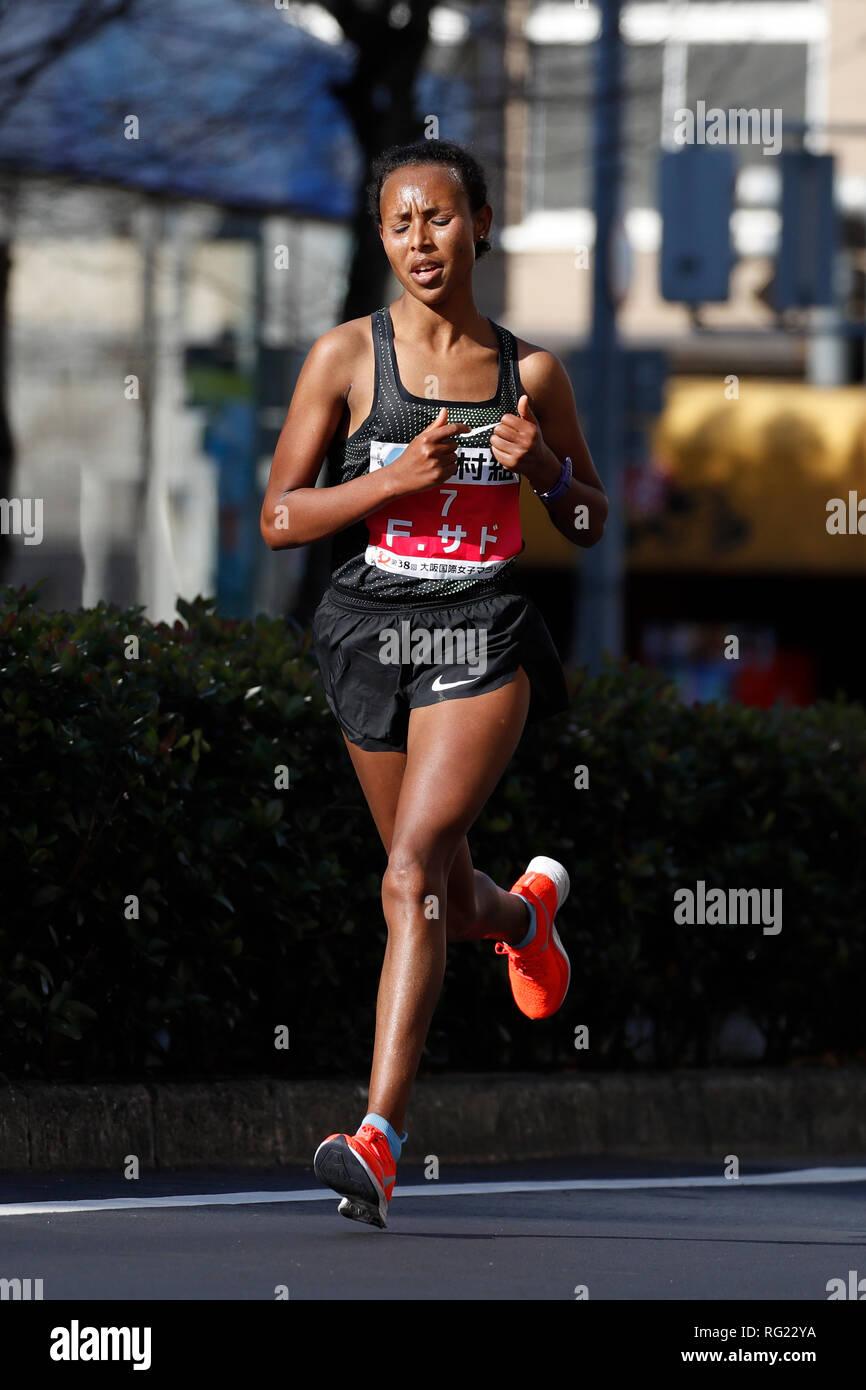 Osaka, Japan. 27th Jan, 2019. Fatuma Sado (ETH) Marathon : Osaka Women's Marathon 2019 in Osaka, Japan . Credit: Naoki Morita/AFLO SPORT/Alamy Live News Stock Photo