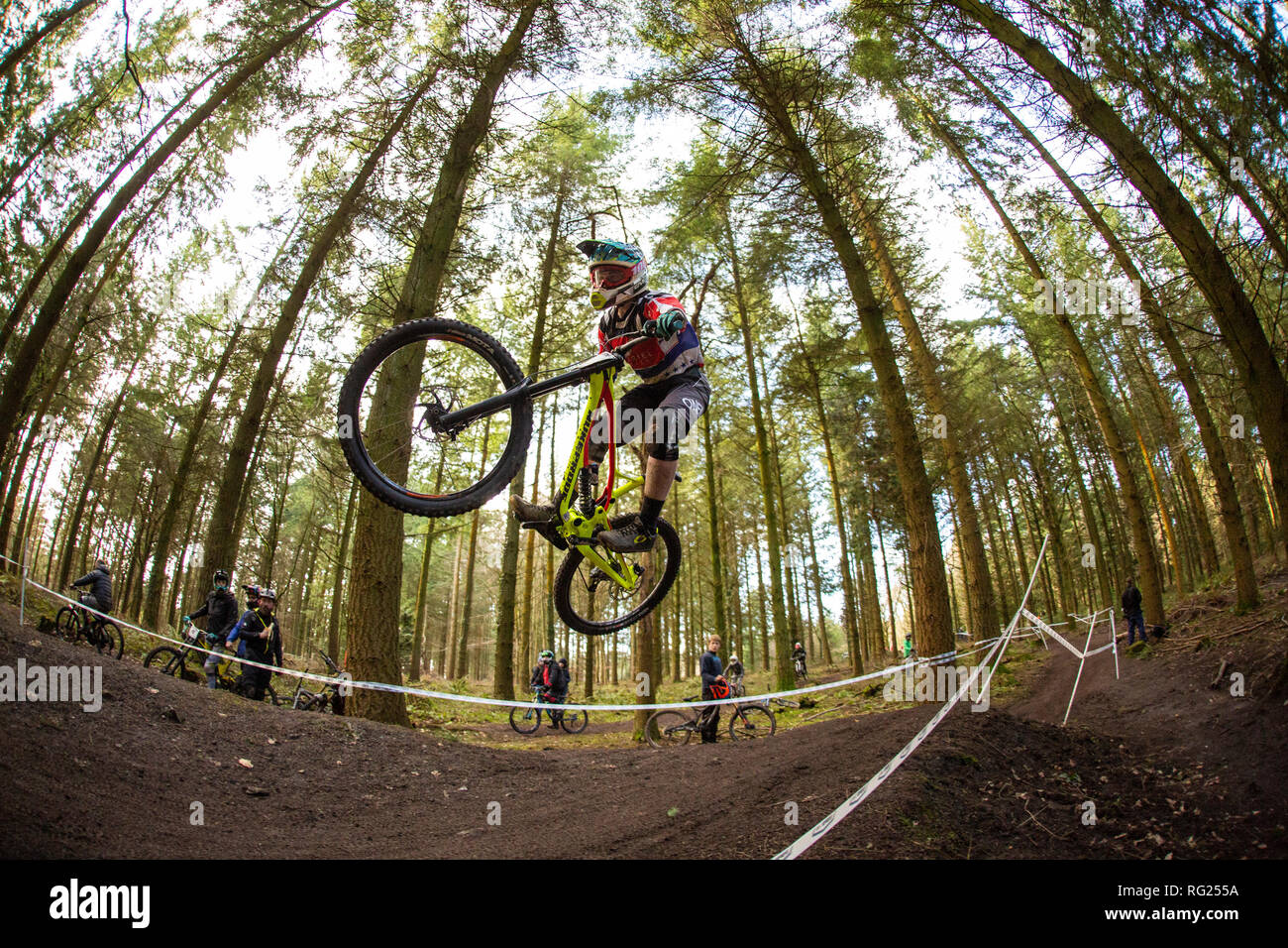 Corkscrew, Forest of Dean, Gloucesteshire, UK. 27th January 2019. Youth athlete, Rockett Jonny, from 15-16 category completes his 1st run at Onza Mini Downhill at the Forest of Dean in 1:00.93. Age categories range from 10-12 to 50+. The race has hosted big names in the past, including Manon Carpenter, ex-World Champion from Caerphilly, South Wales. Credit: Kerry Elsworth/Alamy Live News - Stock Image