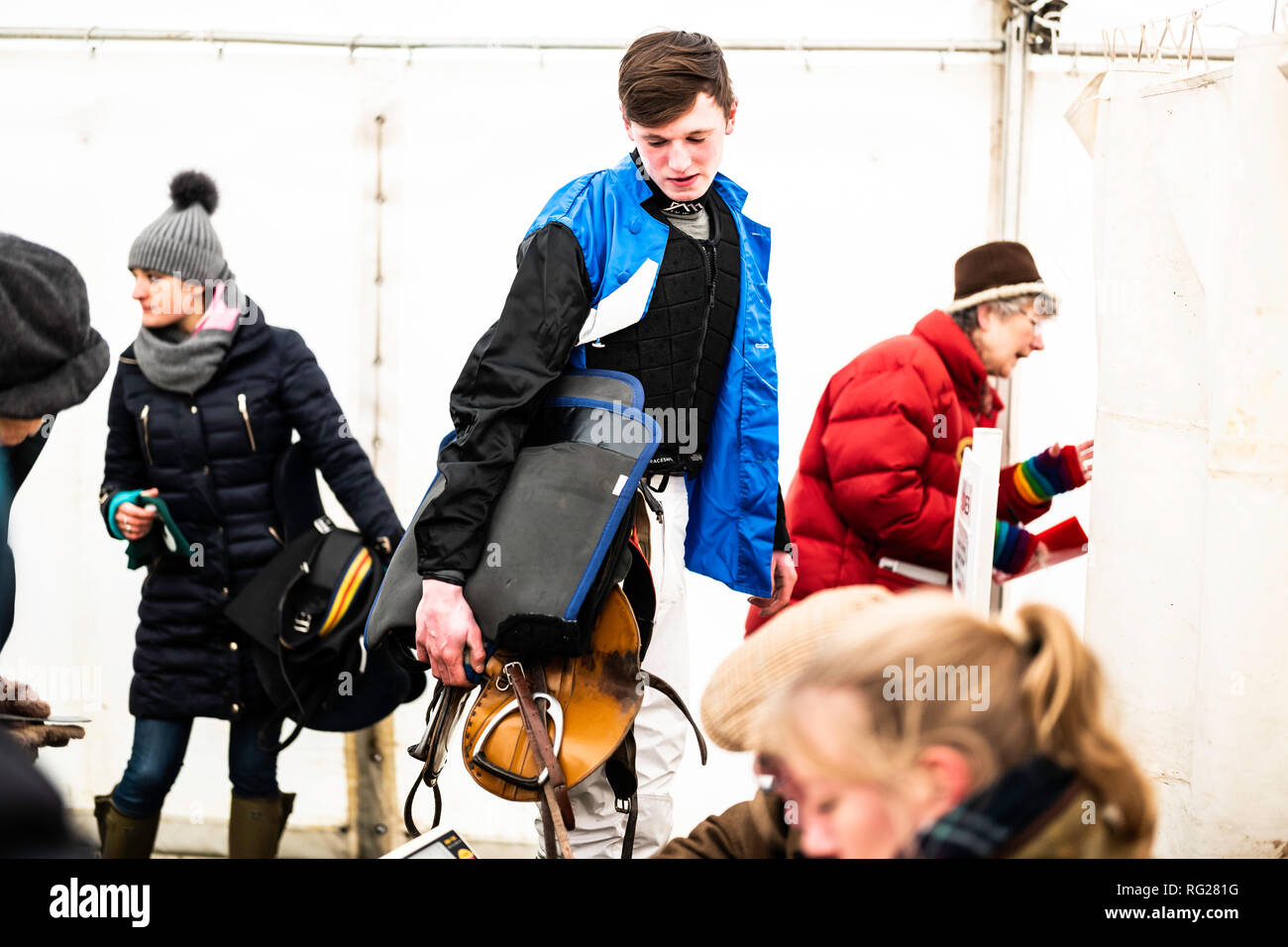 Friars Haugh, Kelso, Scottish Borders, UK. 27th January 2019. Strong winds were braved by jockeys and horses at the first Scottish Point to Point race meeting of the season, held at Friars Haugh in Kelso. To compete the horses owner must be a subscriber or farmer of a recognized pack of Hounds, each individual Hunt, in this case the Jedforest, hold their own respective meetings. Credit: Chris Strickland / Alamy Live News - Stock Image