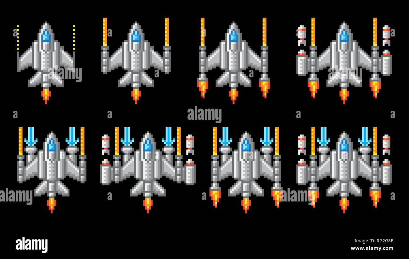 Space Ship Pixel Art Video Arcade Game Cartoon - Stock Vector