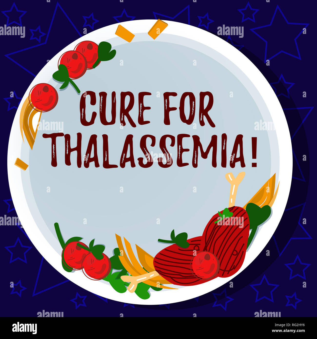 Word writing text Cure For Thalassemia. Business concept for Treatment needed for this inherited blood disorder Hand Drawn Lamb Chops Herb Spice Cherr - Stock Image