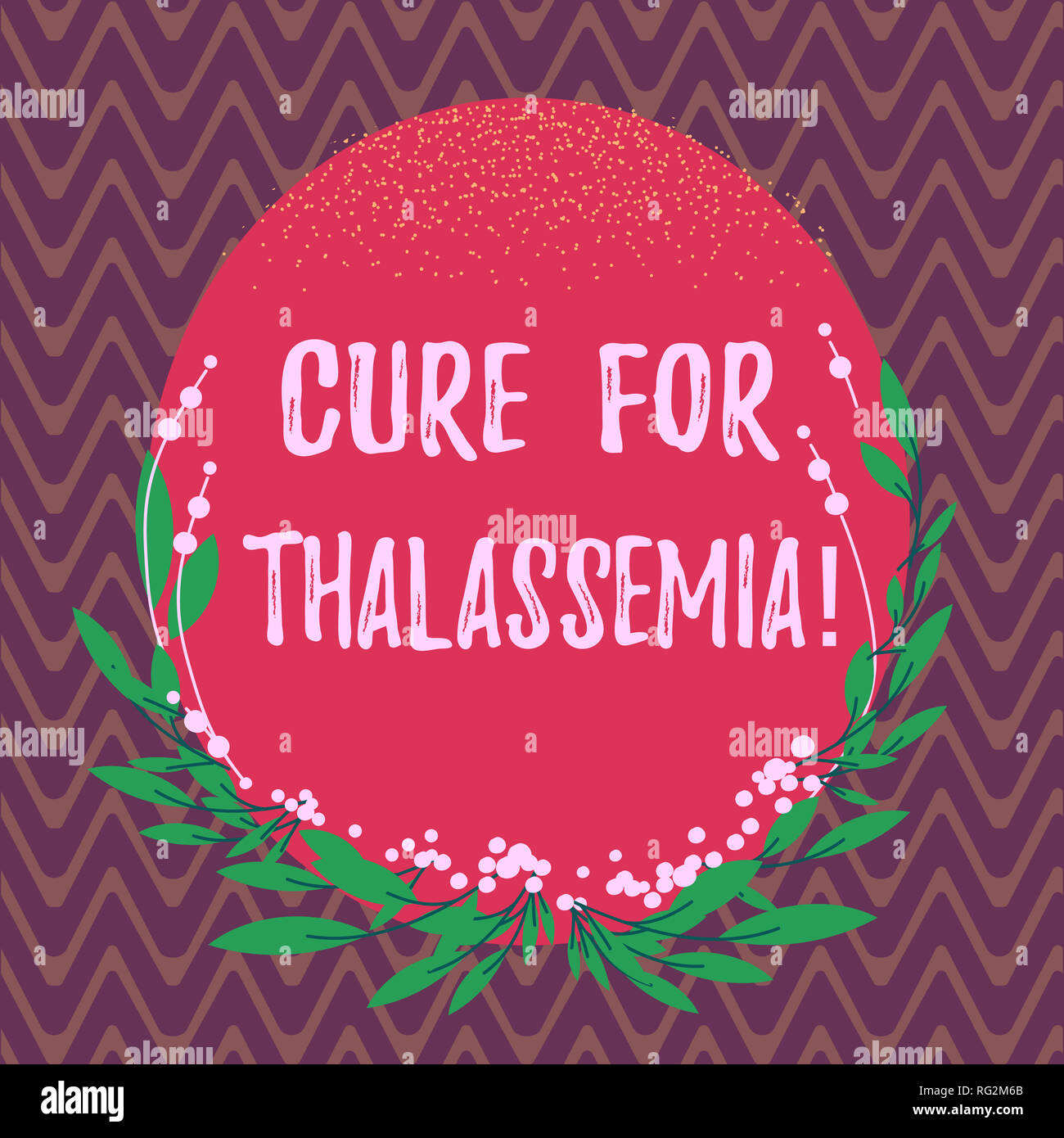 Word writing text Cure For Thalassemia. Business concept for Treatment needed for this inherited blood disorder Blank Color Oval Shape with Leaves and - Stock Image