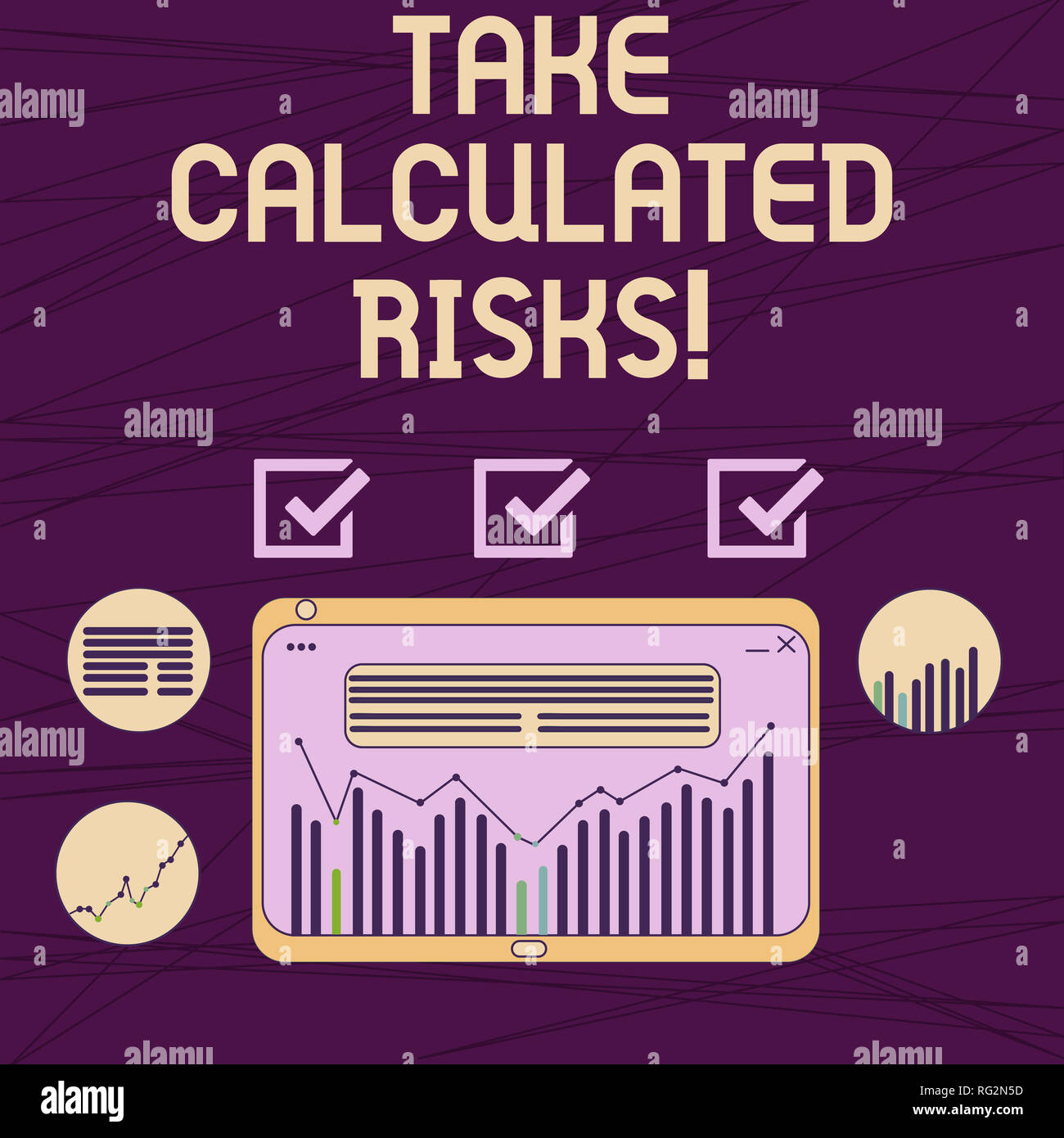 Conceptual hand writing showing Take Calculated Risks. Business photo showcasing chance taken after careful valuation of the outcome Digital Combinati - Stock Image