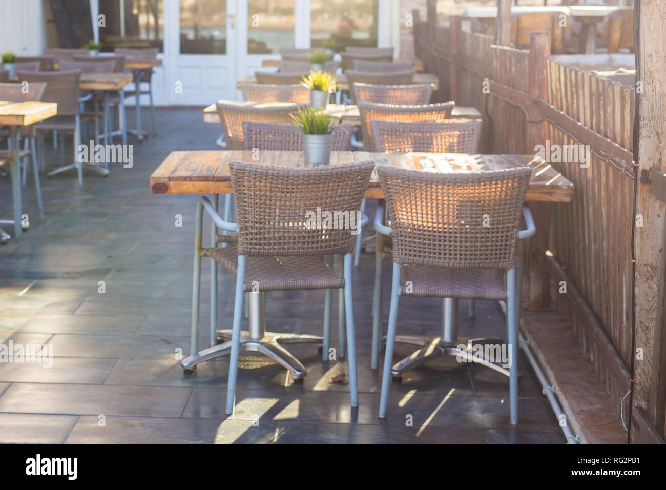Cafe Coffee Shop Tavern And Restaurant Concept Empty Tables In Between Dining Hours In Europe Town Stock Photo Alamy