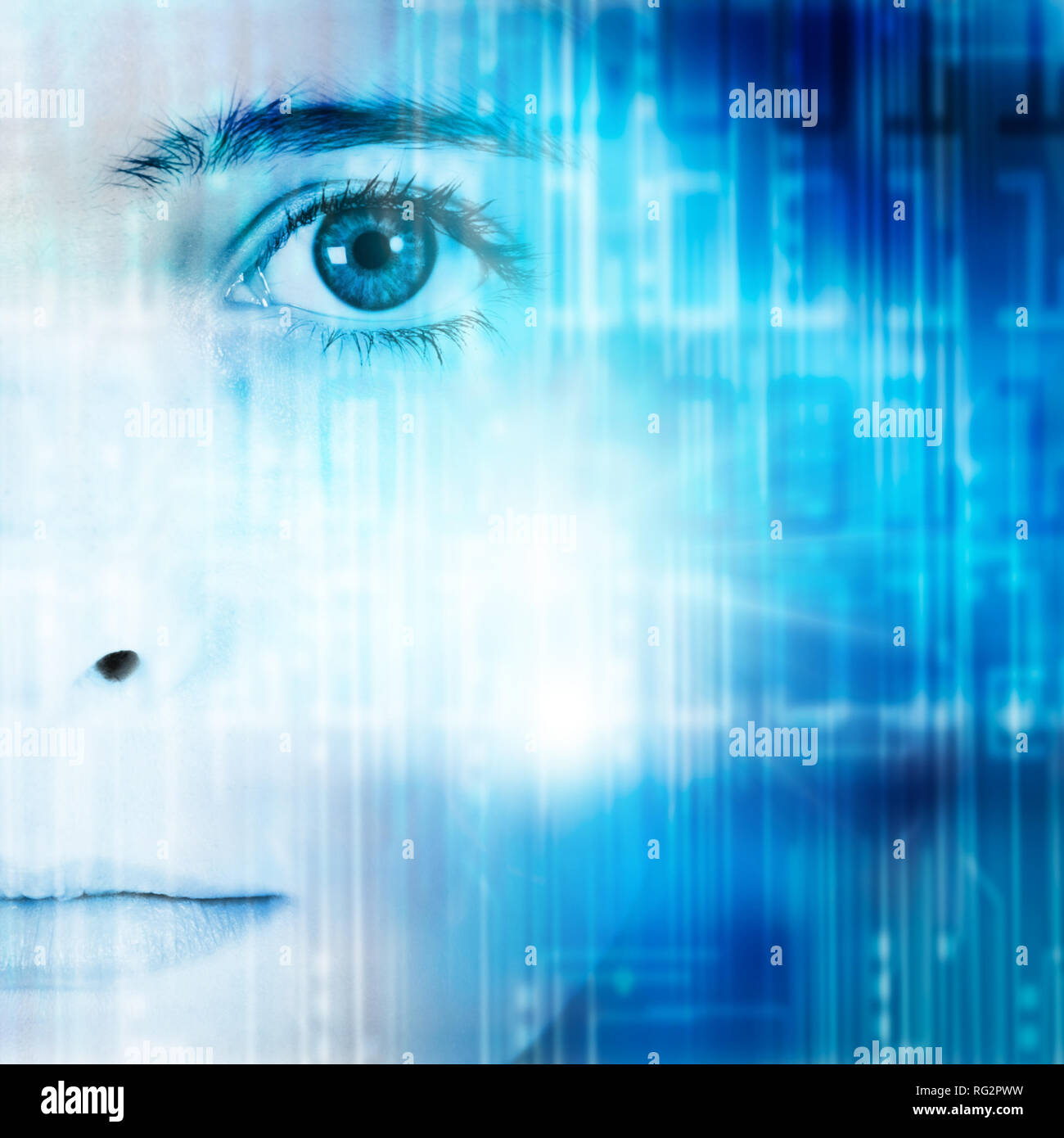 face of a girl looking straight at us and a technology background as concept for future generations - Stock Image