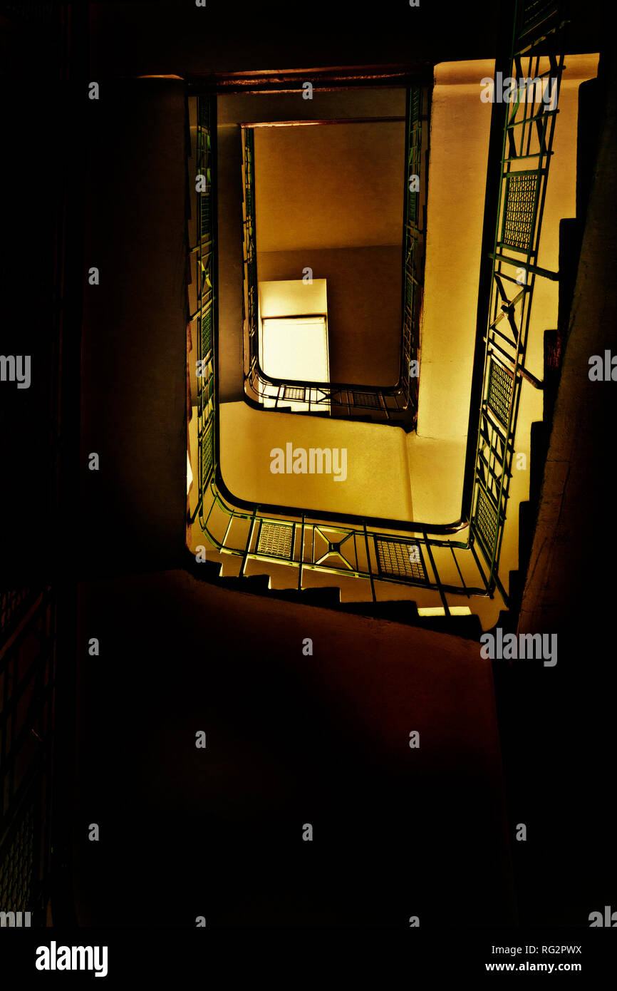 staircase in a residential house viewed from below - Stock Image