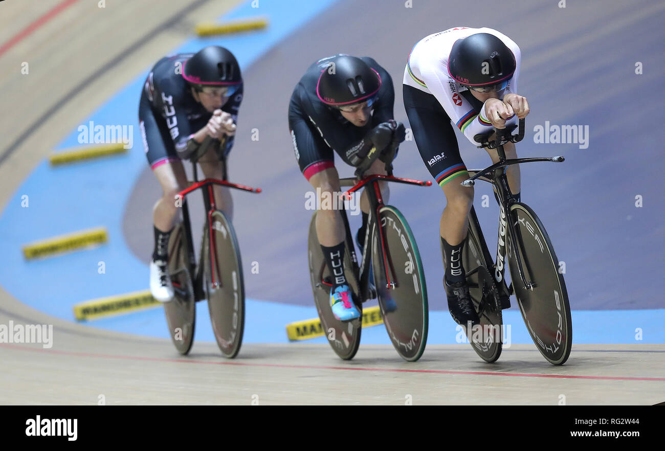 HUUB- Wattbike Test Team riders led by Charlie Tanfield with Dan Bigham (centre) and John Archibald (left) on their way to winning Men's Team Pursuit final, during day three of the National Track Championships at the National Cycling Centre, Manchester. - Stock Image