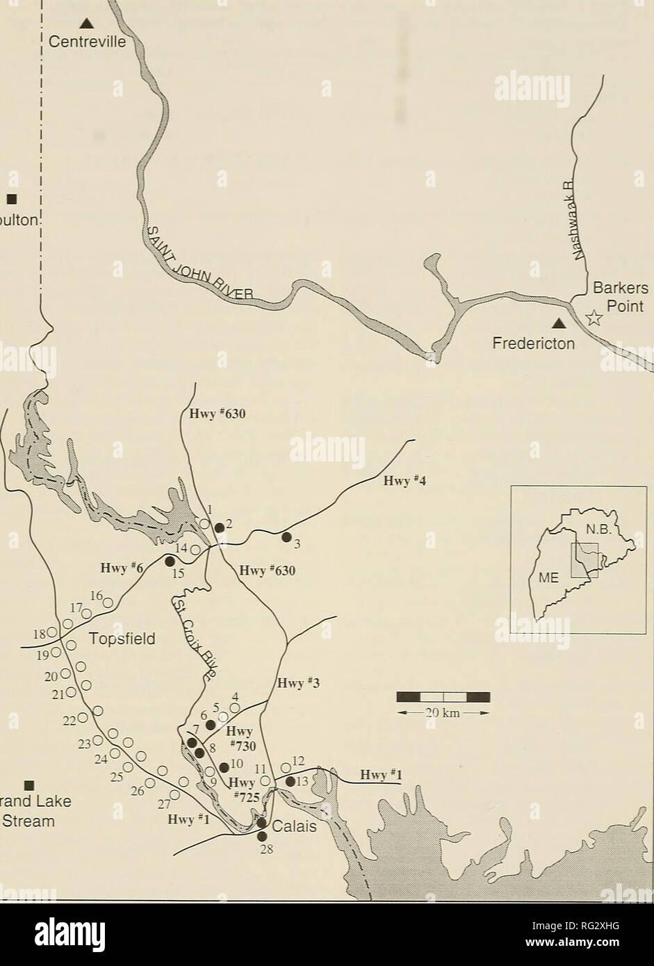Grand Lake Stream Maine Map.The Canadian Field Naturalist 1991 Mcalpine Fletcher Gorham And