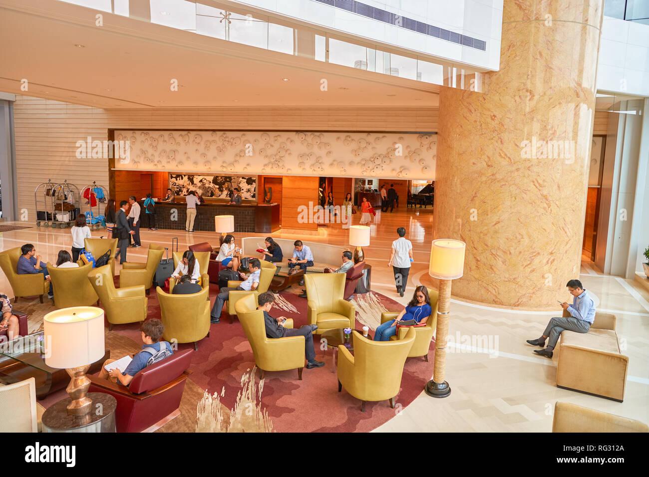 HONG KONG - CIRCA SEPTEMBER, 2016: Four Seasons Hotel Hong Kong Lobby. Four Seasons Hotel Hong Kong is a five-star hotel building in the Sun Hung Kai  Stock Photo